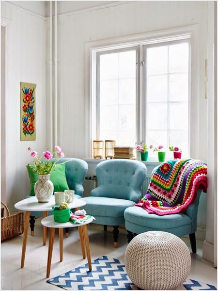 Những phòng khách không cần ghế sofa 8