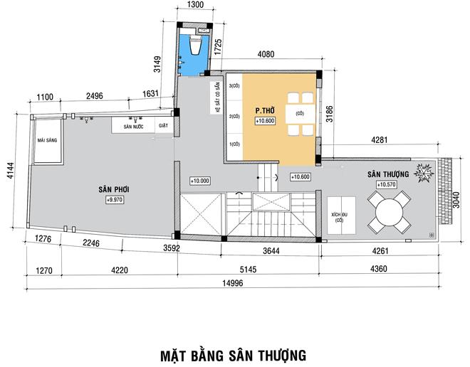 Bố trí nhà 4 tầng ở kết hợp văn phòng tại gia