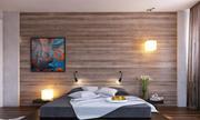 Phòng ngủ ấm áp chỉ nhờ một bức tường gỗ