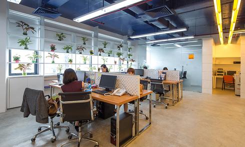 Bố trí văn phòng 130 m2