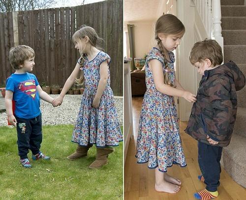 Mới 5 tuổi, Phoebe đã ra dáng một người chị cả đảm đang, biết lo lắng săn sóc em trai mắc bệnh không thể chữa. Ảnh: Newsrt