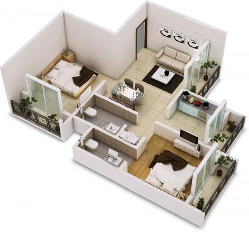 Bốn ban công nhỏ tạo ra cảm giác hòa mình với thiên nhiên của căn hộ hẹp.