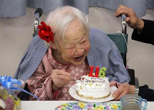 Cụ bà Misao Okawa, được công nhận là người cao tuổi nhất thế giới năm 2013, qua đời ở tuổi 117. Cụ từng chia sẻ thói quen ăn uống khoa học, ngủ đủ giấc và biết cách thư giãn chính là bí mật cho tuổi thọ của mình. Ảnh: nbcnews