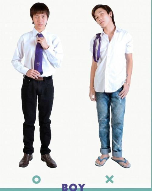 Hình ảnh mẫu đồng phục nam (bên trái) và trang phục các sinh viên nam không nên mặc tới trường (phải). Ảnh: Facebook Đại học Bangkok.