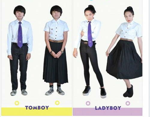 Mẫu đồng phục các tomboy và ladyboy có thể lựa chọn khi tới trường. Ảnh: Facebook Đại học Bangkok.
