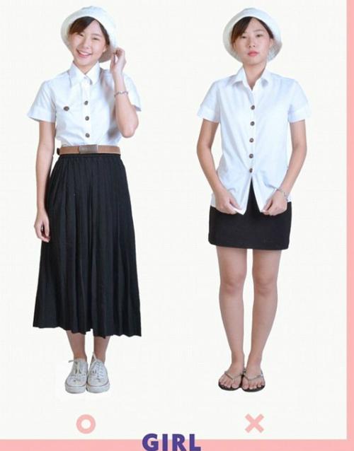 Hình ảnh mẫu đồng phục nữ (bên trái) và mẫu trang phục các bạn gái không nên mặc tới trường (phải). Ảnh: Facebook Đại học Bangkok.