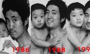 Cha con chụp cùng một kiểu ảnh trong suốt 27 năm