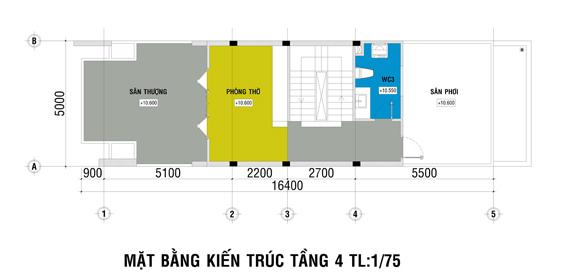 Xây nhà 4 tầng trên mảnh đất 100 m2
