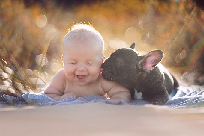 Cuộc sống như hình với bóng của cậu bé sơ sinh và chú cún