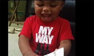 Em bé cười như nắc nẻ mỗi khi xem tranh con lừa