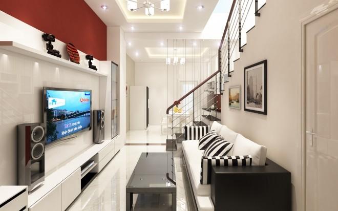 nha hien dai dep 5 1444957481 660x0 Thiết kế xây nhà ống 60 m2 với tông trắng chủ đạo