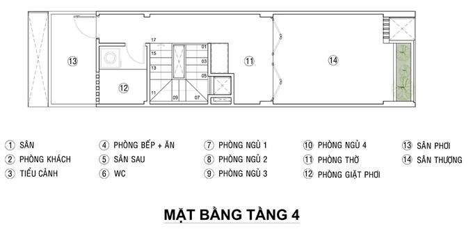 Xây nhà ống 4 phòng ngủ thoáng trên mặt bằng 41 m2