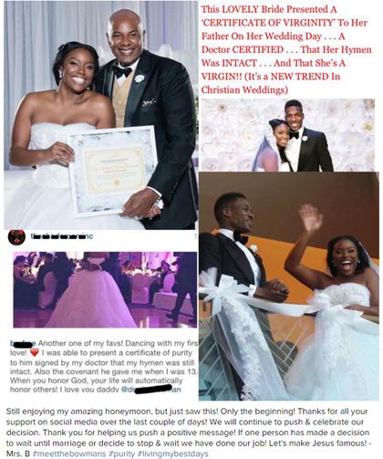 Cô dâuBrelynFreeman và cha mình tự hào chụp ảnh bên giấy chứng nhận