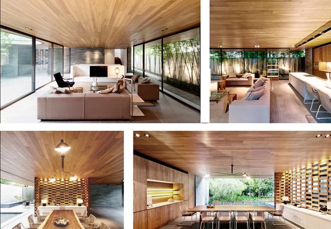 Ngôi nhà có thiết kế hiện đại với các tông màu sáng, gỗ ấm áp