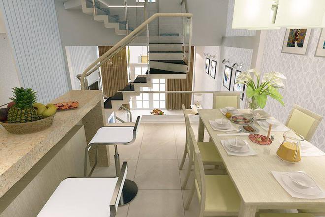 Nhà 50 m2 sáng nhờ hai giếng trời nhỏ