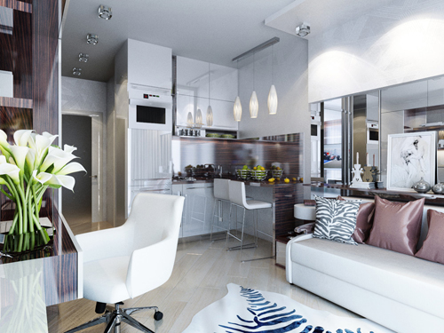 Những tấm gương lớn, bề mặt nội thất sáng bóng giúp nhà có cảm giác rộng rãi.