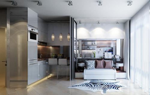 Để tạo cảm giác thoải mái khi ngủ nghỉ, giữa phòng khách cũng là nơi đặt giường ngủ và bếp có một bức vách kéo.
