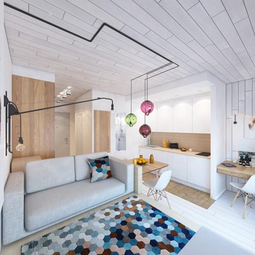 Không cần sử dụng nhiều màu sắc nhưng căn hộ vẫn có cảm giác trẻ trung nhờ sử dụng các loại họa tiết và nội thất vui mắt.