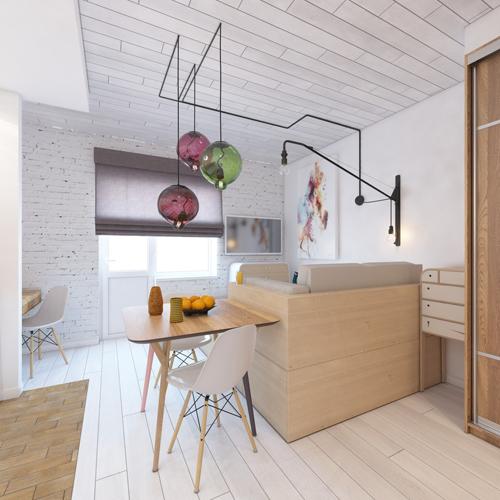Kiến trúc sư sử dụng linh hoạt các loại chất liệu ở trần, sàn và nội thất giúp không gian sinh động.