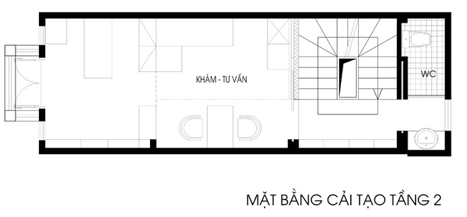 Cải tạo nhà ống 26 m2 thành nơi ở kết hợp làm việc