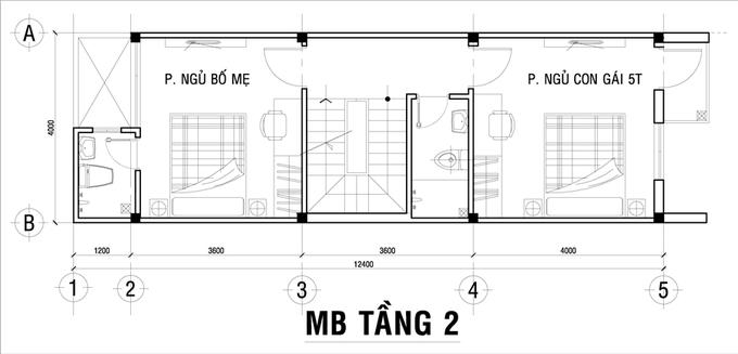 Thiết kế đơn giản cho nhà ống 3 tầng có bề ngang 4m