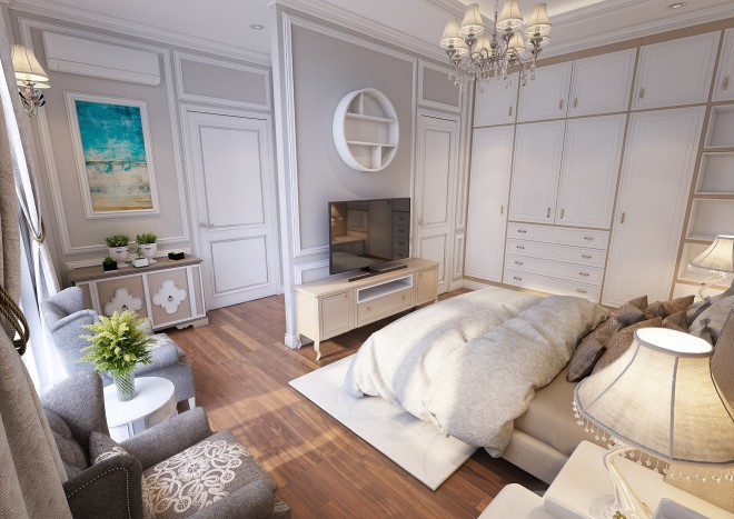 Thiết kế bán cổ điển cho nhà 3 tầng nở hậu