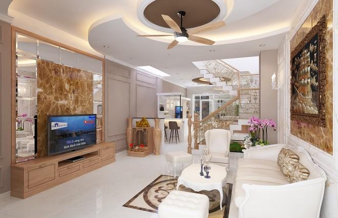 Nhà 3 tầng 100 m2 phong cách bán cổ điển