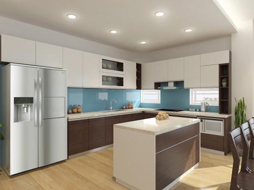 Không gian bếp rộng rãi với tủ bếp liên hoàn