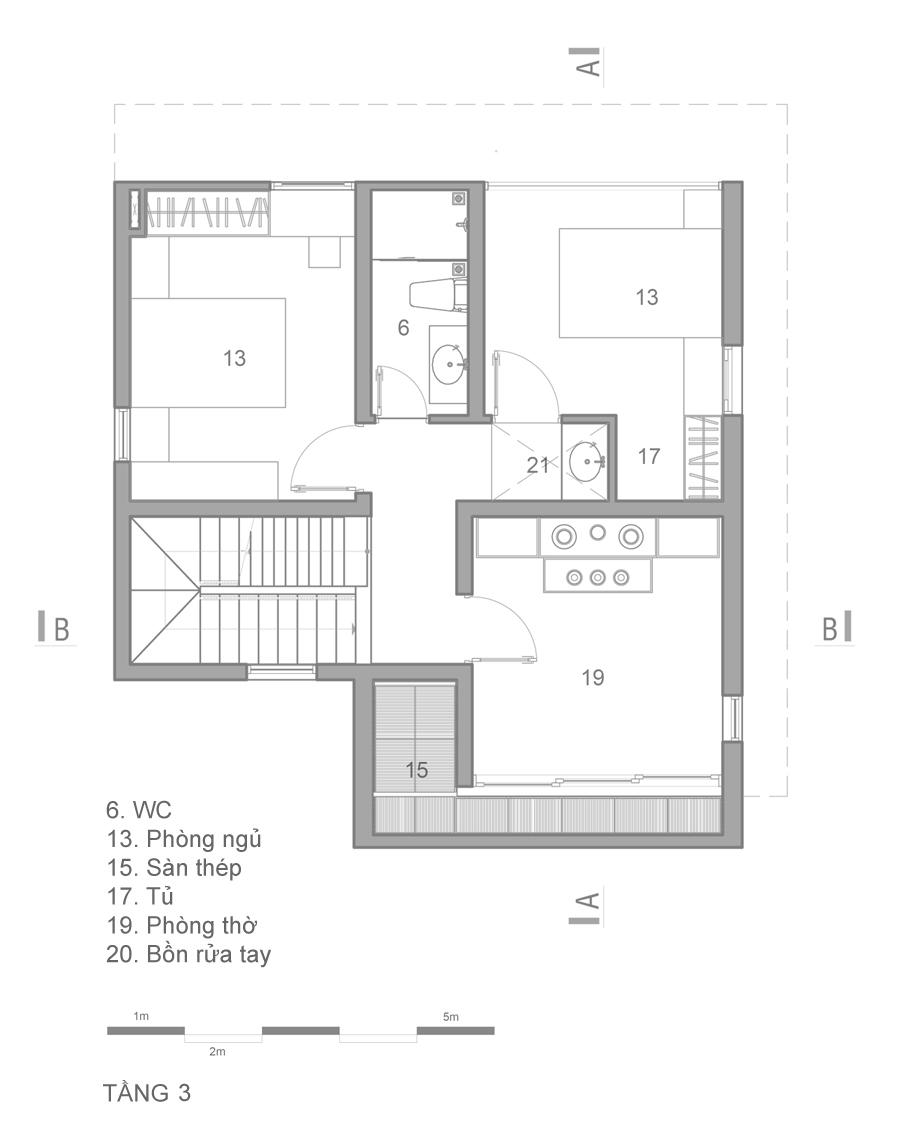 mat bang 4 1473914086 680x0 - Mảnh đất méo hoá ngôi nhà sang trọng trong hẻm Sài Gòn