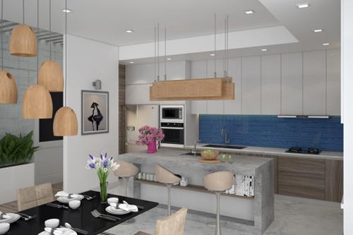 bep 3 4417 1474685185 Thiết kế không gian nội thất phòng bếp mở ngập tràn ánh sáng