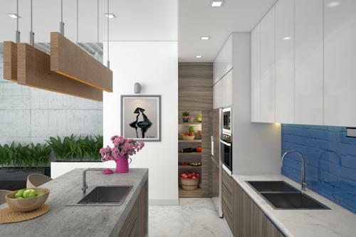 bep 4 2584 1474685185 Thiết kế không gian nội thất phòng bếp mở ngập tràn ánh sáng