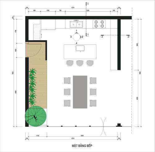 bep 9 2798 1474685185 Thiết kế không gian nội thất phòng bếp mở ngập tràn ánh sáng
