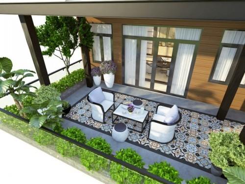 Vườn sân thượng nhiều cây xanh làm giảm nhiệt cho các phòng bên trong  Vườn hông với vườn tường mát và thảm cỏ xanh giảm nhiệt.