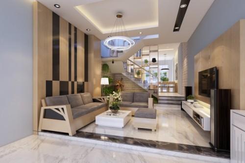 Sofa bố trí vuông góc với cửa chính.
