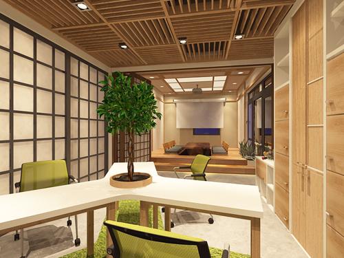 Tầng 2 thiết kế mô hình văn phòng kiểu mẫu.