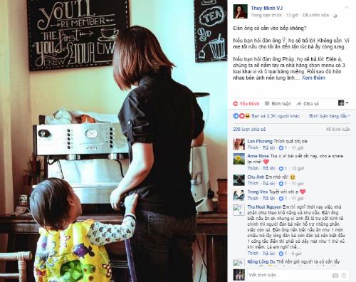 Thùy Minh dặn con không chia sẻ bếp núc sẽ không bao giờ lấy được vợ đâu trên facebook.