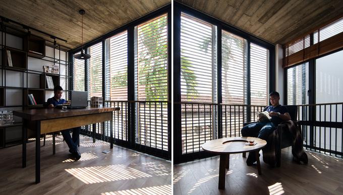 Ngôi nhà Hà Nội gây tò mò với hệ cửa sổ tre cao 8m
