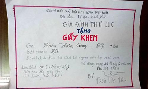 Ông bố Bắc Giang 2 năm tự tạo giấy khen cho con