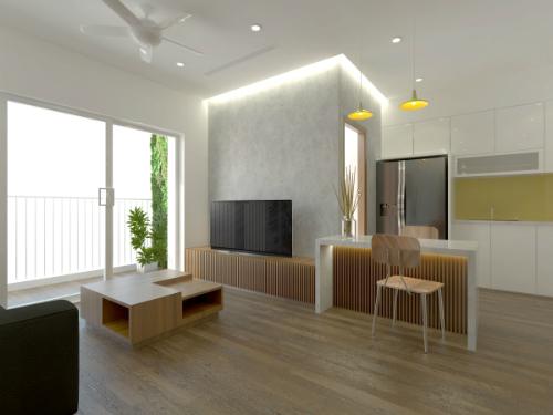 Kiến trúc sư đã bố trí đảo bếp nhằm phân chia tương đối khu vực nấu nướng và không gian phòng khách. Đảo bếp vừa có chức năng như khu sửa soạn thức ăn, vừa có thể dùng làm bàn ăn khi cần thiết.