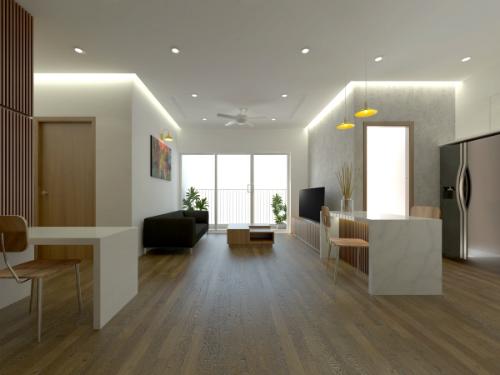 Căn hộ được thiết kế là chung cư cao cấp 2 phòng ngủ, tọa lạc trong khu đô thị mới ở Hà Nội. Gia chủ là người trẻ làm kinh doanh, đã đi nhiều nước trên thế giới và nhờ vậy, có cái nhìn cởi mở về kiến trúc lẫn nội thất.Anh mong muốn có không gian phòng khách hiện đại, đơn giản, nhưng vẫn phải đảm bảo yếu tố sang trọng.