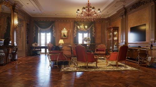 Phòng khách hạng tổng thống là phòng cao cấp nhất trong danh mục phòng gia đình cho thuê nên nó tập trung mọi tinh túy của lĩnh vực nội thất hiện nay: rộng 118m2 (trong tổng mặt bằng 360m2), kết hợp cả bar, phòng khách, bàn ăn&