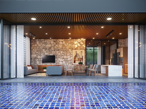Dù là bất cứ ai, ở đâu, chúng ta đều cần một nơi để trở về, đấy là nhà. Thấu hiểu điều đó, kiến trúc sư đã đưa ra thiết kế không gian mở, tận dụng tối đa những vật liệu tự nhiên, hình ảnh tự nhiên như cây, đá, đất, nước...