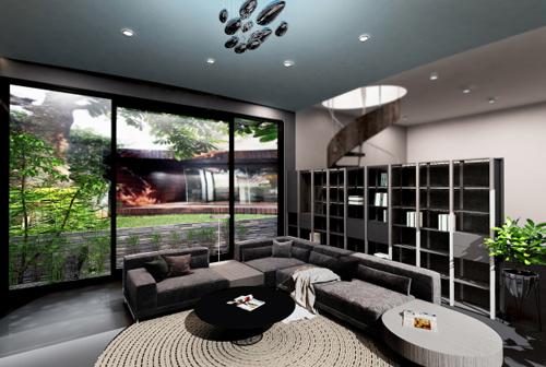 Để đáp ứng nhu cầu cao và khắt khe của chủ nhà, kiến trúc sư đã lựa chọn và kết hợp hai phong cách minimalism và tròn hóa không gian.