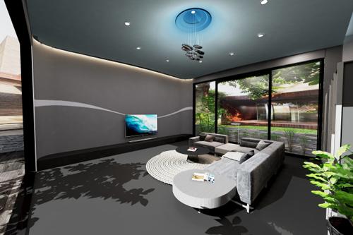 Đặc biệt, chiếc TV Oled LG 70 inch nổi lên giữa căn phòng tạo cảm giác sang trọng, hiện đại và năng động. Dãy đèn thiết kế trên mái vòm lõm với đường địa hình, tạo không gian rộng và cách biệt với cuộc sống sôi động bên ngoài.
