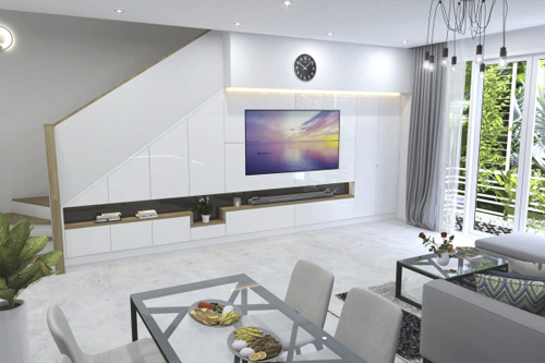 Phòng khách không chỉ là nơi gia đình tụ họp, trò chuyện, giải trí mà còn là không gian chính để tiếp khách. Do vậy, yêu cầu đặt ra với kiến trúc sư là thiết kế một không gian sống thoải mái, tiện nghi mà vẫn để lại ấn tượng cho bất kỳ ai đặt chân đến.