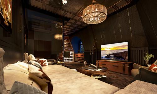 Không gian phòng khách với thiết kế đơn giản và tinh tế, lấy ý tưởng từ hầm rượu vang kết hợp với phong cách industrial.