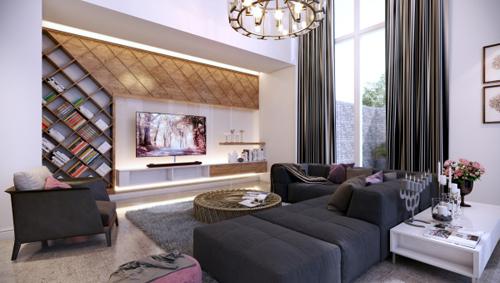 Không gian phòng khách được thiết kế dành cho gia chủ có niềm yêu thích và đam mê với sách.