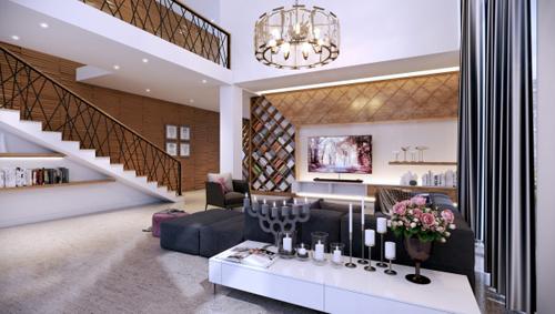 Hệ thống kệ sách được bố cục tạo thành những mảng hình khối xen kẽ nhau, đảm bảo về công năng đồng thời tạo giá trị thẩm mỹ trong không gian phòng khách đương đại.