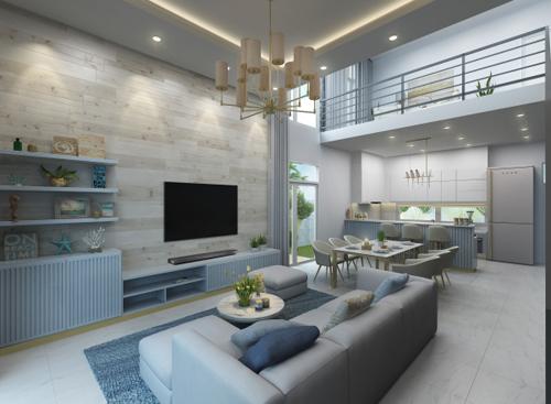 Với yêu cầu của chủ nhà thích sự yên bình của trời và biển, kiến trúc sư đã tạo ra một không gian nội thất thượng lưu đáp ứng cả ba yếu tố công năng, thẩm mỹ và thư giãn.