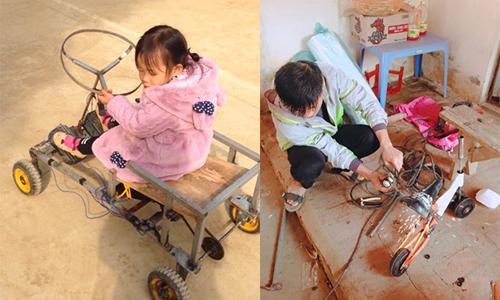 Con gái anh Thức thích thú bên chiếc xe bố chế. Trước đó, cô bé được bố làm cho chiếc xe điện cân bằng (ảnh phải).